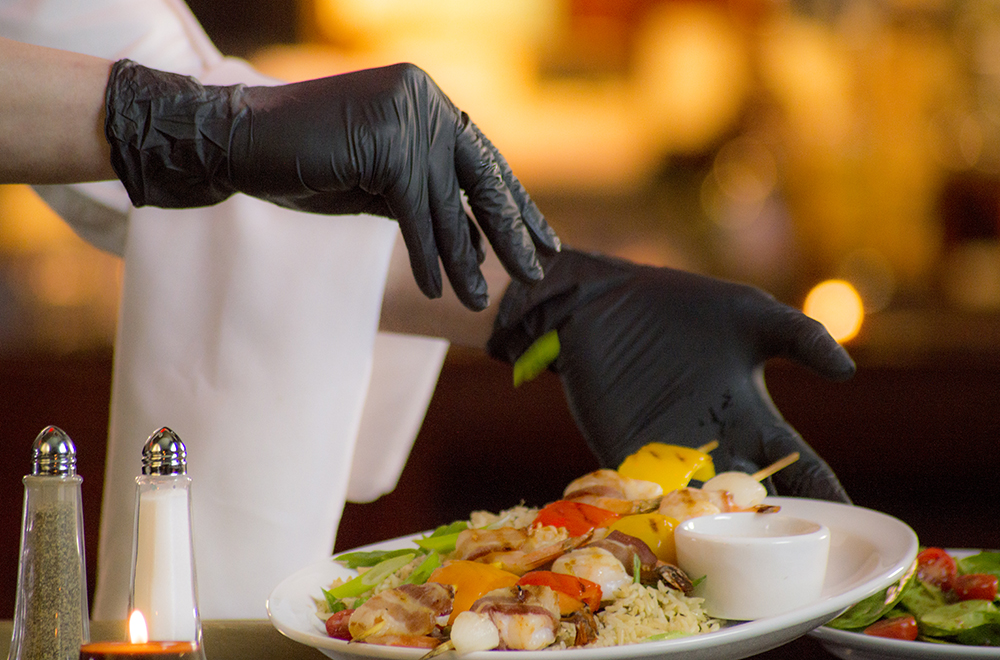 In the reopened economy, gloves will be required almost universally for restaurants.