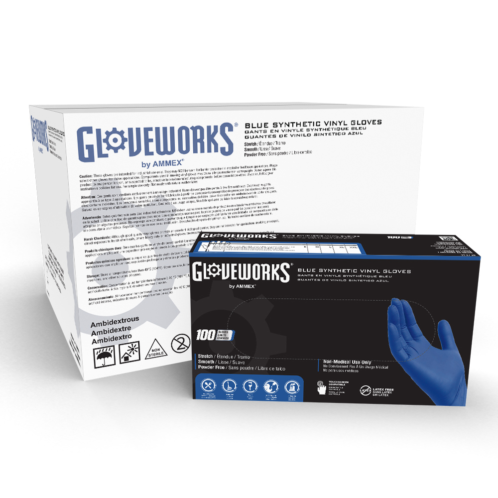 Gloveworks Blue Vinyl disposable gloves from AMMEX are made of synthetic stretch vinyl.