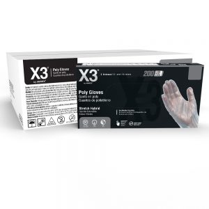 X3 White Stretch Hybrid Poly disposable gloves from AMMEX are tailor-made for working with food.